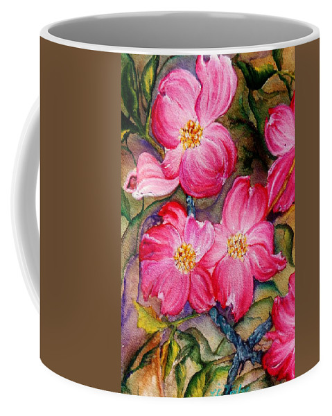 Pink Flowers Coffee Mug featuring the painting Dogwoods In Pink by Lil Taylor