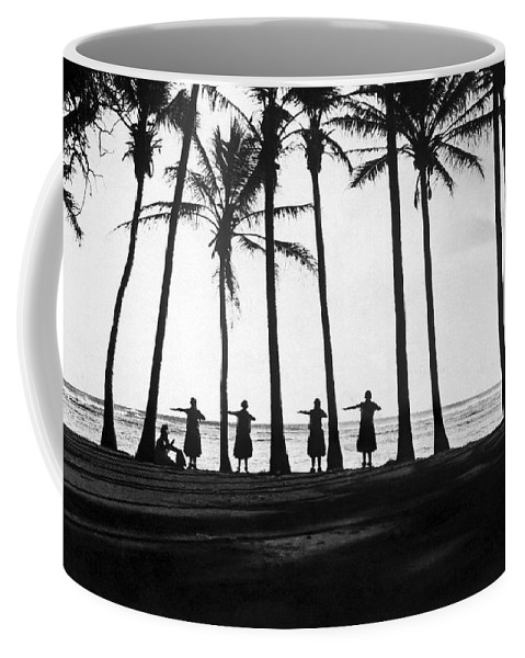 1922 Coffee Mug featuring the photograph Doing The Hula At Sunset by Underwood & Underwood