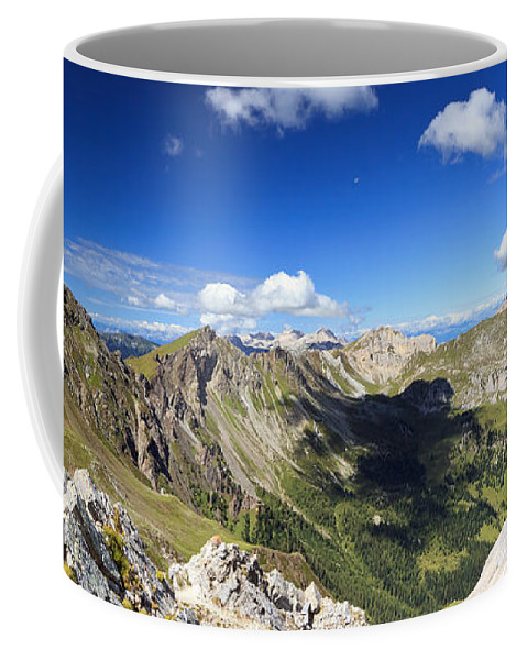 Aerial Coffee Mug featuring the photograph Dolomites Landscape On Summer by Antonio Scarpi