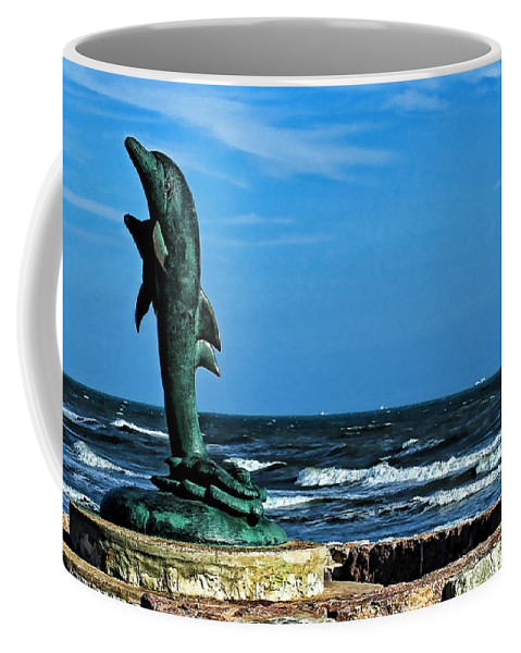 Dolphin Coffee Mug featuring the photograph Dolphin Statue by Judy Vincent
