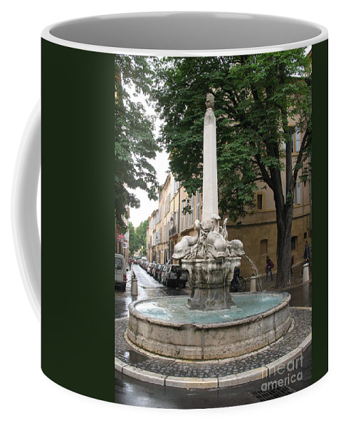 Dolphin Fountain Coffee Mug featuring the photograph Dolphinfountain - Aix En Provence by Christiane Schulze Art And Photography