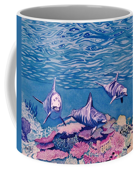 Dolphins Coffee Mug featuring the painting Dolphins by Alan Mintz