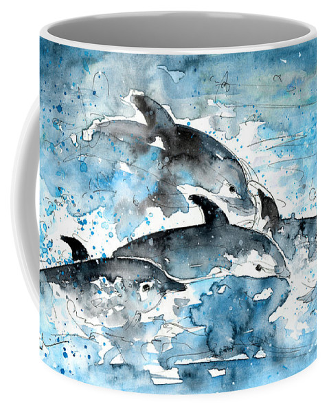 Travel Coffee Mug featuring the painting Dolphins In Gran Canaria by Miki De Goodaboom