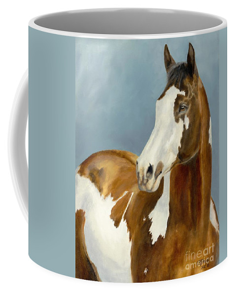 Horse Coffee Mug featuring the painting Domino by Catherine Davis