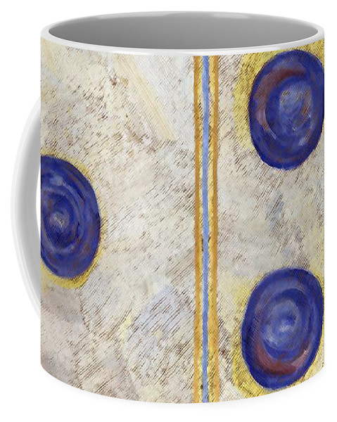 Game Coffee Mug featuring the painting Domino Three Abstract by Linda Mears