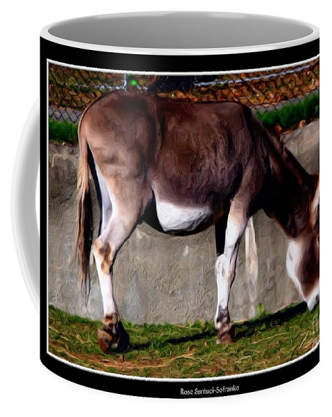 Sardinian Donkey Coffee Mug featuring the photograph Donkey With Oil Painting Effect by Rose Santuci-Sofranko