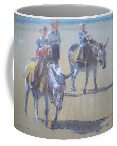 Beach Coffee Mug featuring the painting Donkeys At Borth Beach by Derek Williams