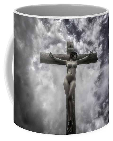 Crucifixion Coffee Mug featuring the digital art Donna Crocifissa by Ramon Martinez