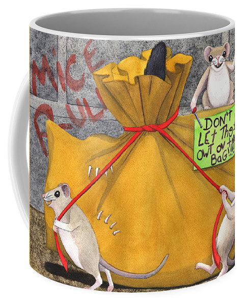 Cat Coffee Mug featuring the painting Dont Let The Cat Out Of The Bag by Catherine G McElroy