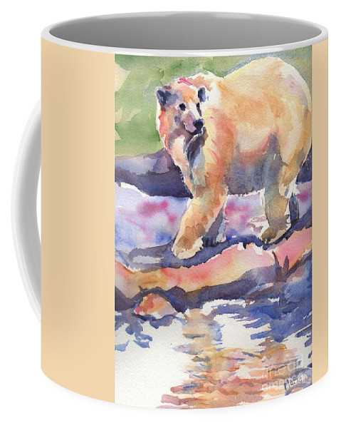 Polar Bear Watercolor Painting Coffee Mug featuring the painting Don't Look Back by Maria's Watercolor
