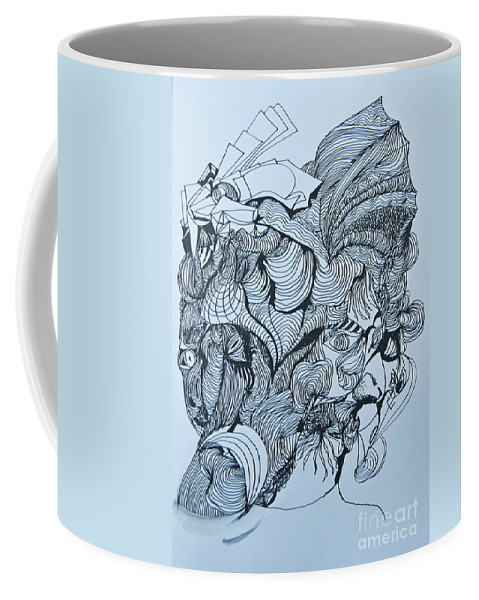 Doodle Coffee Mug featuring the painting Doodle - 03 by James Lavott