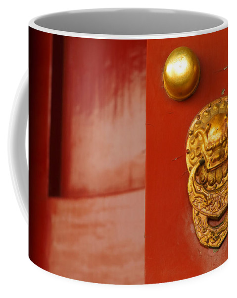 China Coffee Mug featuring the photograph Door Handle by Sebastian Musial