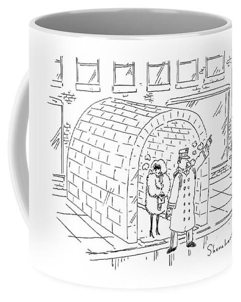 Cartoon Coffee Mug featuring the drawing Doorman Hailing Taxi For Woman Outside Igloo by Danny Shanahan