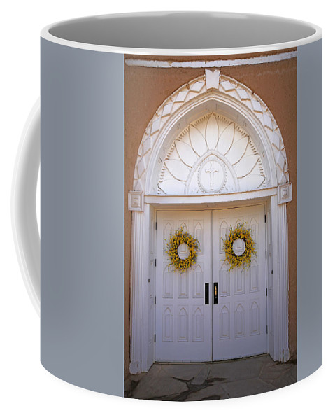 San Francisco De Asis Coffee Mug featuring the photograph Doors Of San Francisco De Asis by Lynn Sprowl