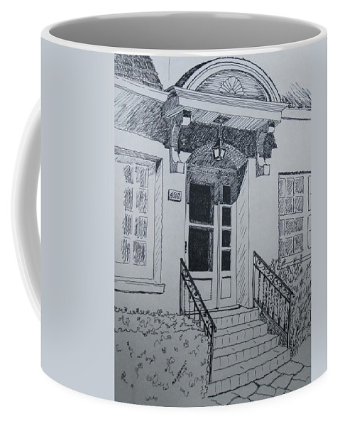 Pen And Ink Coffee Mug featuring the drawing Doorway by Mary Ellen Mueller Legault