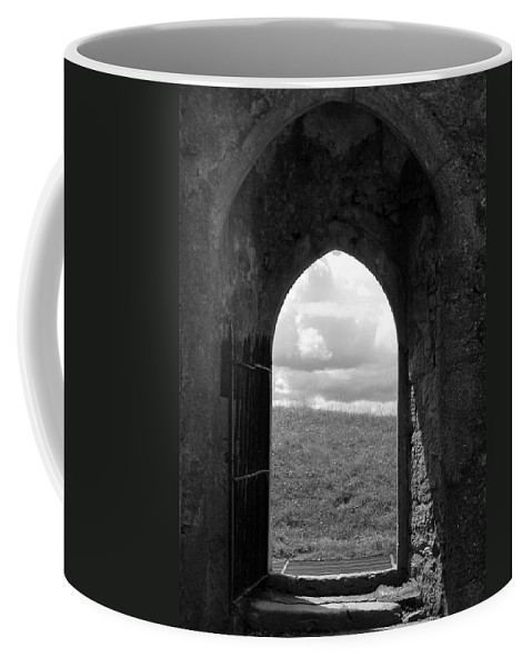 Black And White Coffee Mug featuring the photograph Doorway To Irish Landscape 1 by Denise Mazzocco