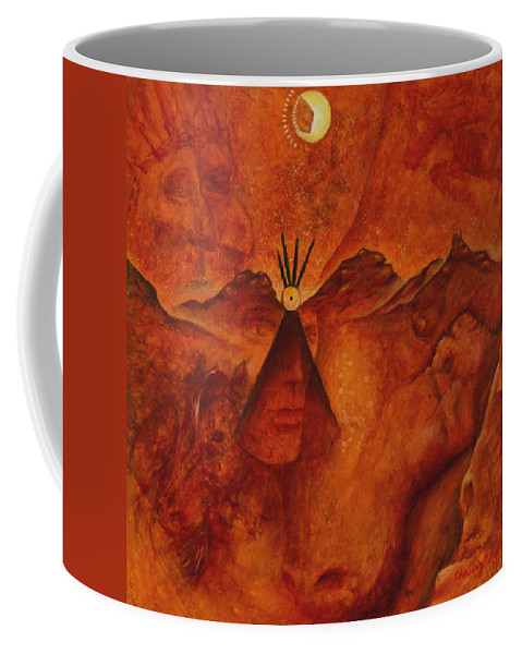 Native American Coffee Mug featuring the painting Doorways by Kevin Chasing Wolf Hutchins
