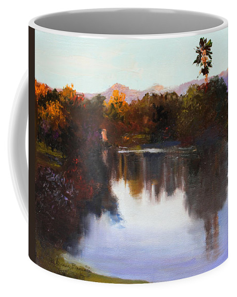 Golf Coffee Mug featuring the painting Dorado Waterhole Oil by M Diane Bonaparte