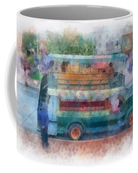 Disney Coffee Mug featuring the photograph Double Decker Bus Main Street Disneyland Photo Art 01 by Thomas Woolworth