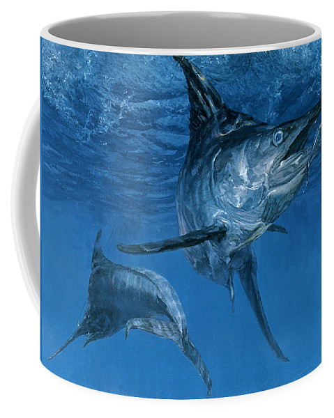 Color Image Coffee Mug featuring the photograph Double Header Makaira Nigricans, Blue by Stanley Meltzoff / Silverfish Press