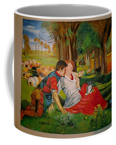 Coffee Mug featuring the painting double portrait of freinds Gunner and Jessie by Jude Darrien