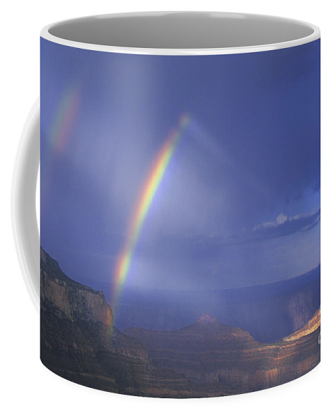 North America Coffee Mug featuring the photograph Double Rainbow At Cape Royal Grand Canyon National Park by Dave Welling