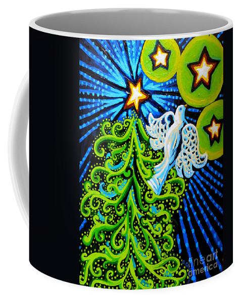 Dove And Christmas Tree Coffee Mug featuring the painting Dove And Christmas Tree by Genevieve Esson