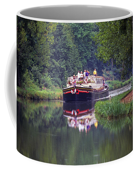 Landscape; Burgundy; burgundy; France; Hotel Barge; Burgundy Canal; Hotel Barge; Burgundy Countryside; Burgundy; France; Landscape Burgundy France; france; Burgundy; Boat; Ship; Canal Boat; Boating; Boating In France; Countryside; Pastoral; Quiet; Serene; Peaceful; Recreation; Fun; Excitement; Travel Coffee Mug featuring the photograph Down A Sleepy River by Buddy Mays