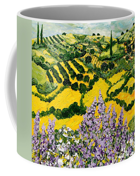 Landscape Coffee Mug featuring the painting Down The Hill by Allan P Friedlander
