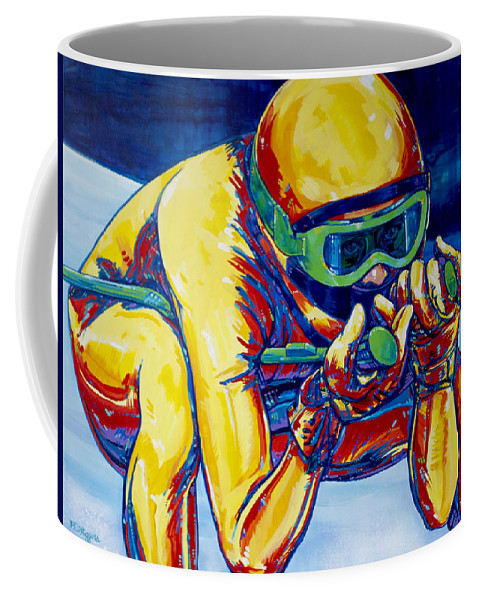 Contemporary Coffee Mug featuring the painting Downhill Racer by Derrick Higgins