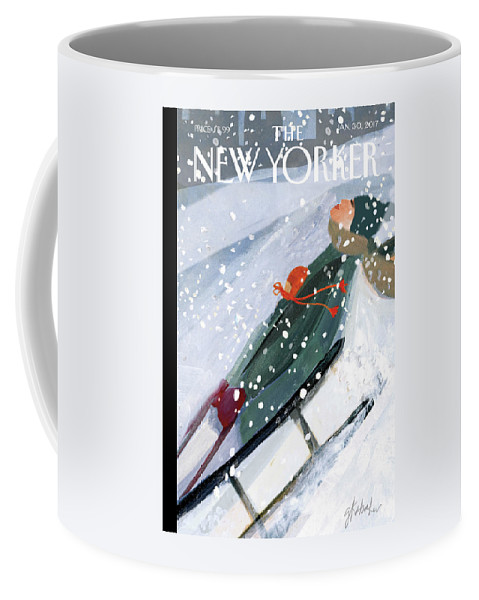 Downhill Racers Coffee Mug featuring the painting Downhill Racers by Gayle Kabaker