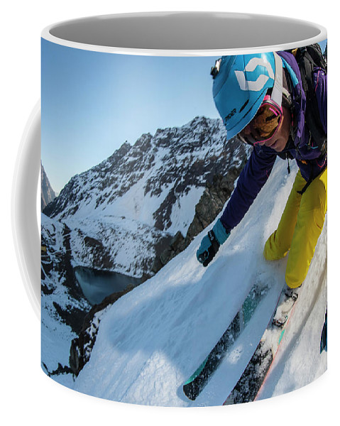 Horizontal Coffee Mug featuring the photograph Downhill Skiier In Portillo, Chile by Gabe Rogel