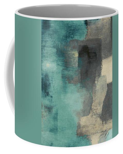 Abstract Coffee Mug featuring the digital art Downtown Blue Rain I by Lanie Loreth