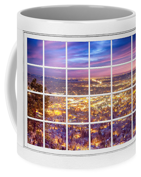 Boulder Colorado Coffee Mug featuring the photograph Downtown Boulder Colorado City Lights Sunrise Window View 8lg by James BO Insogna