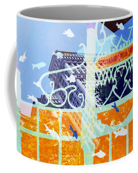 Manhattan Coffee Mug featuring the photograph Downtown Manhattan Fishes by Rosie McCobb