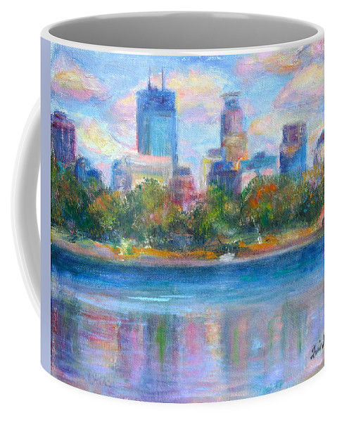 Quin Sweetman Coffee Mug featuring the painting Downtown Minneapolis Skyline From Lake Calhoun by Quin Sweetman