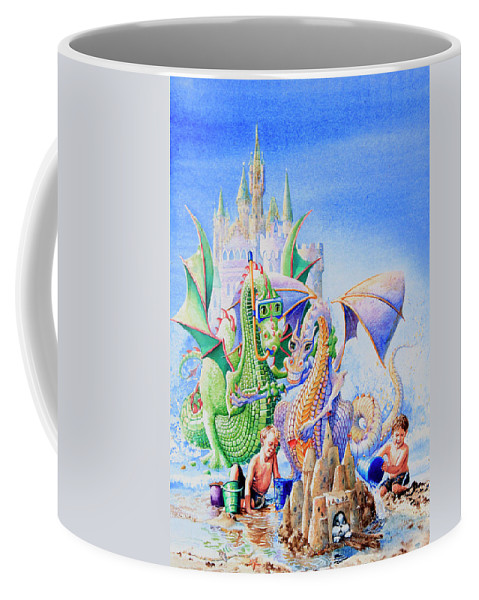 Beach Scene Coffee Mug featuring the painting Dragon Castle by Hanne Lore Koehler