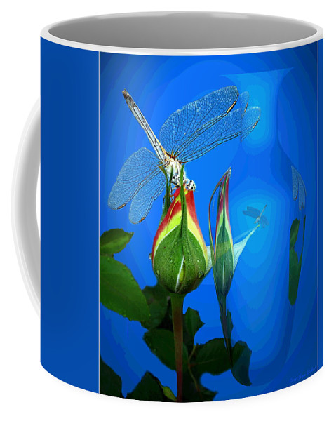 Dragonfly Coffee Mug featuring the photograph Dragonfly And Bud On Blue by Joyce Dickens