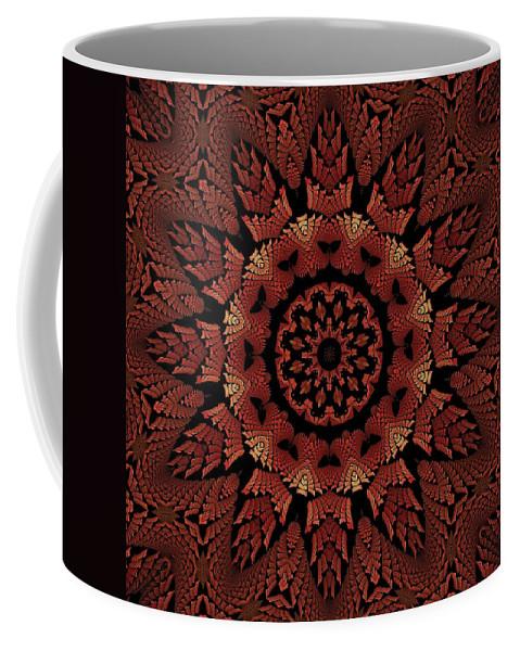 Fractal Coffee Mug featuring the digital art Dragonspur K12-38 Medicine Wheel by Doug Morgan