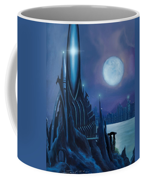 Sunrise Coffee Mug featuring the painting Dragontown by James Christopher Hill