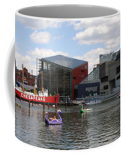 Dragoon Boat Coffee Mug featuring the photograph Dragoon Boats - Baltimore Inner Harbor by Christiane Schulze Art And Photography