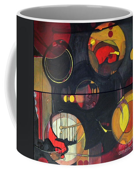 Diptych Coffee Mug featuring the painting Drama Resolved 1 And 3 by Marlene Burns
