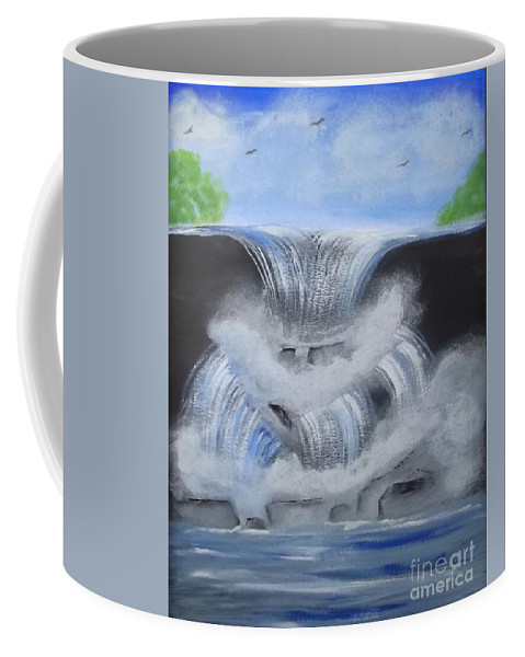 Dramatic Falls Coffee Mug featuring the painting Dramatic Falls by Tracey Williams