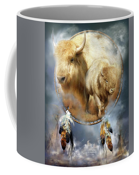 Carol Cavalaris Coffee Mug featuring the mixed media Dream Catcher - Spirit Of The White Buffalo by Carol Cavalaris