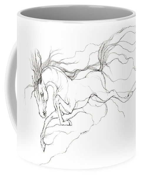 Horse Coffee Mug featuring the drawing Dream Horse by Angel Ciesniarska