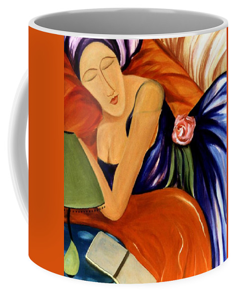 #female #figurative #floral #beauty #dream #fineart #art #images #painting #artist #print Coffee Mug featuring the painting Dream by Jacquelinemari