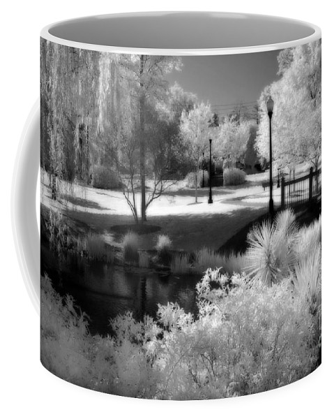 Infrared Coffee Mug featuring the photograph Surreal Infrared Black White Infrared Nature Landscape - Infrared Photography by Kathy Fornal