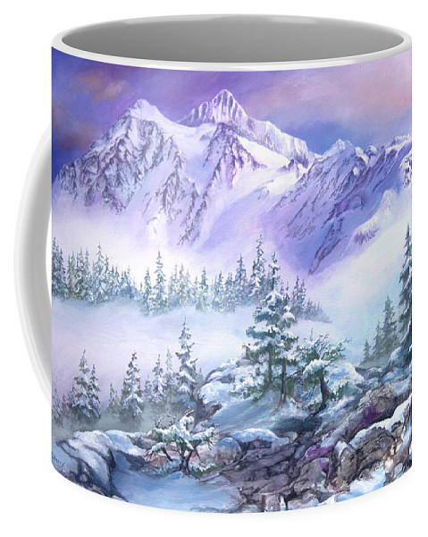 Mountains Coffee Mug featuring the painting Dressed In White Mount Shuksan by Sherry Shipley