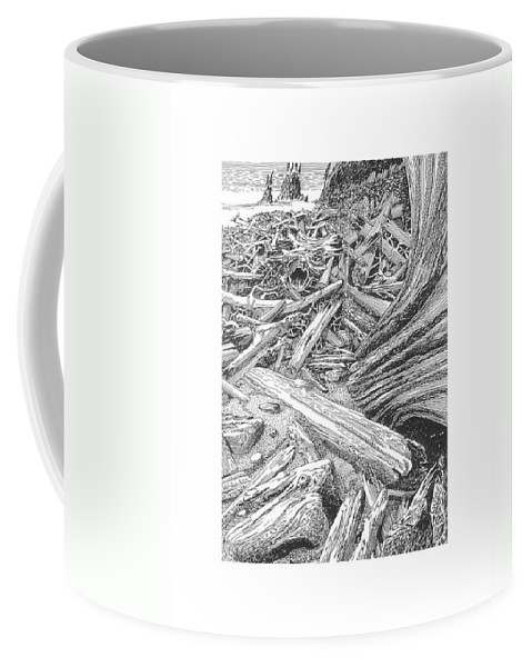 Find The Critter? Coffee Mug featuring the drawing Critter In The Driftwood by Jack Pumphrey