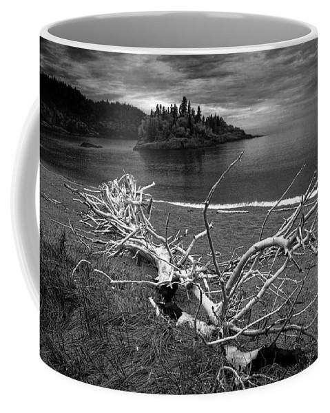 Art Coffee Mug featuring the photograph Driftwood On The Shore Near Wawa Ontario Canada by Randall Nyhof